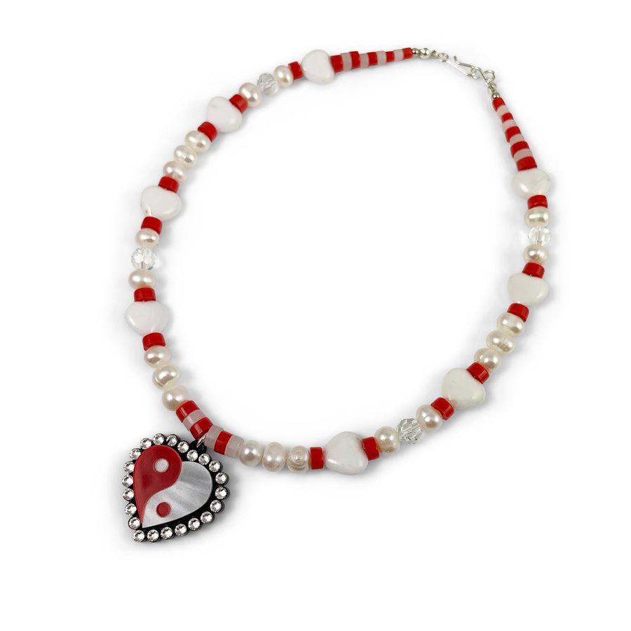 Yin Yang Heart Necklace in Red and White