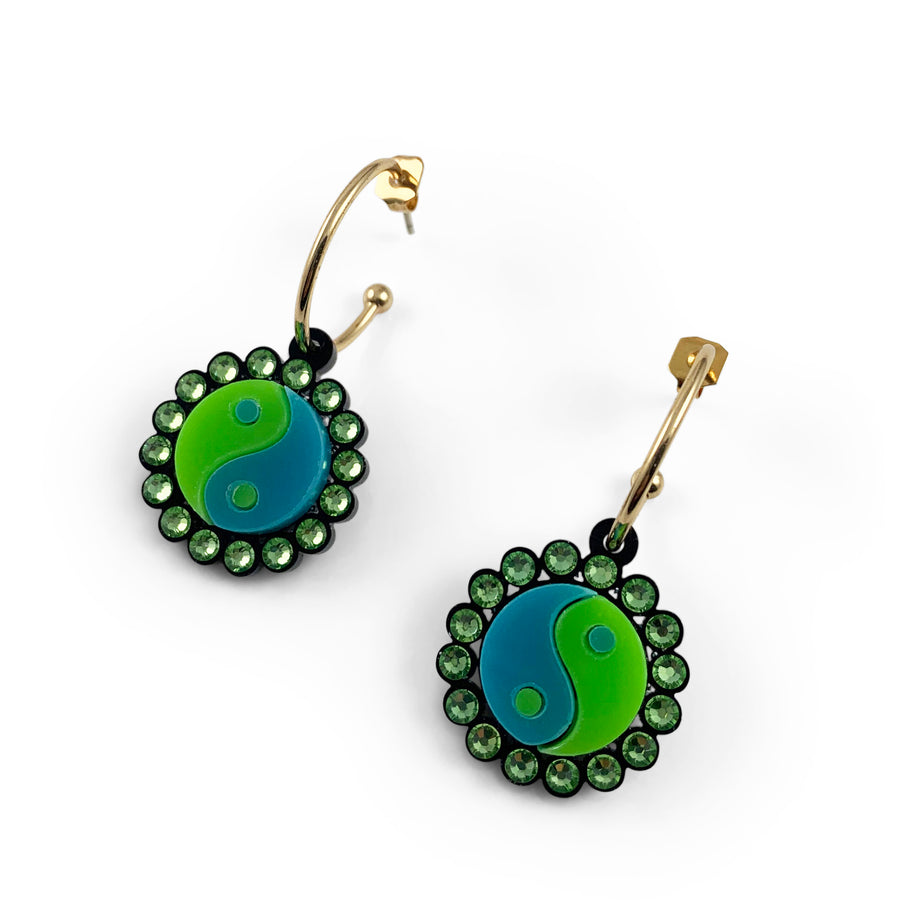 Jennifer Loiselle yin yang 90s laser cut acid lime green hoop earrings