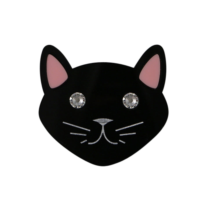 Cat brooch in black