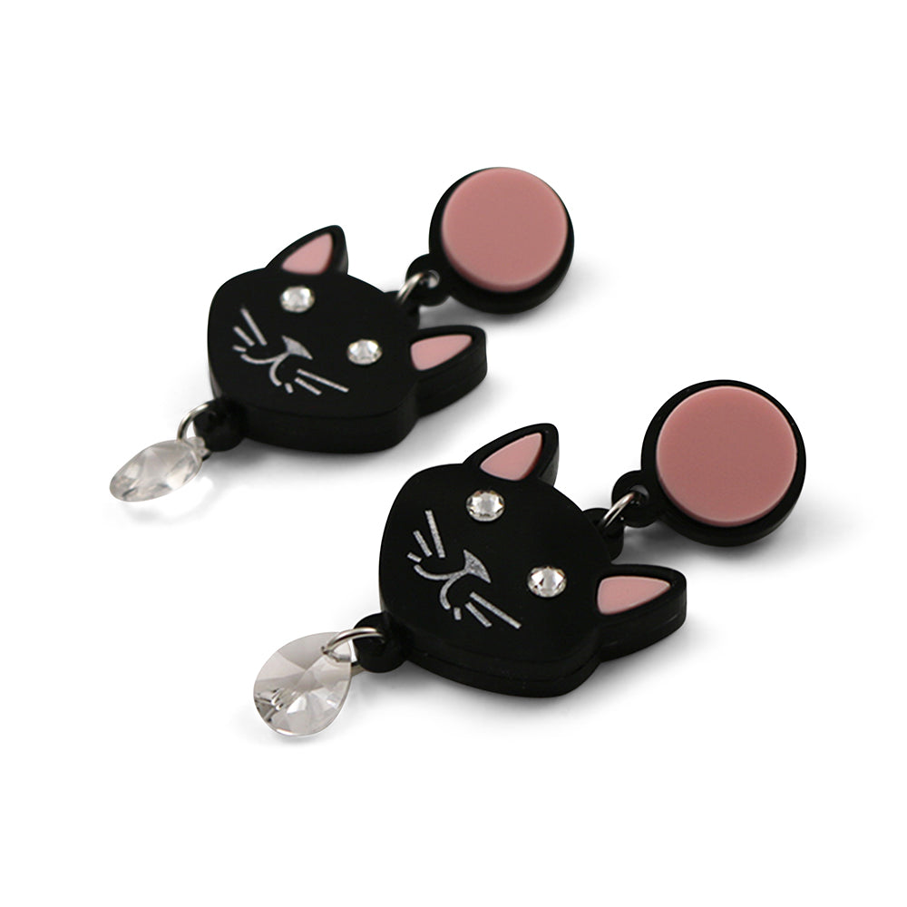 Crystal Cat Earrings in Black