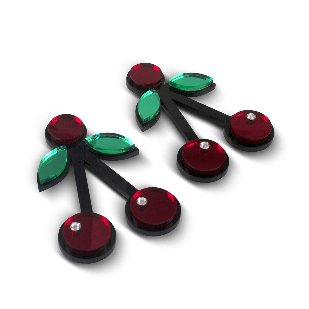 Cherry Crush Acrylic Earrings in red
