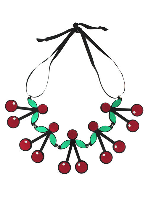 Cherry Crush Acrylic Necklace in red