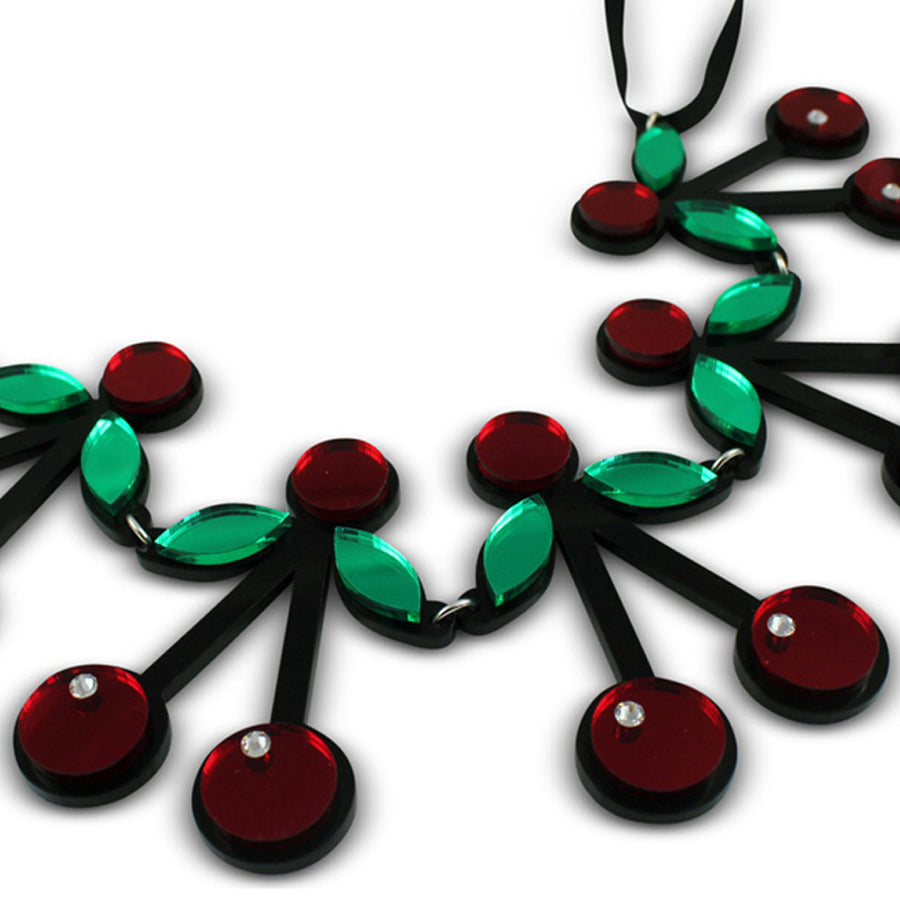 Jennifer Loiselle cherry acrylic laser cut necklace