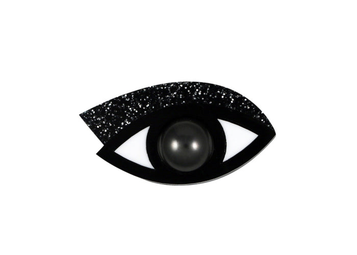 Eye brooch in black glitter