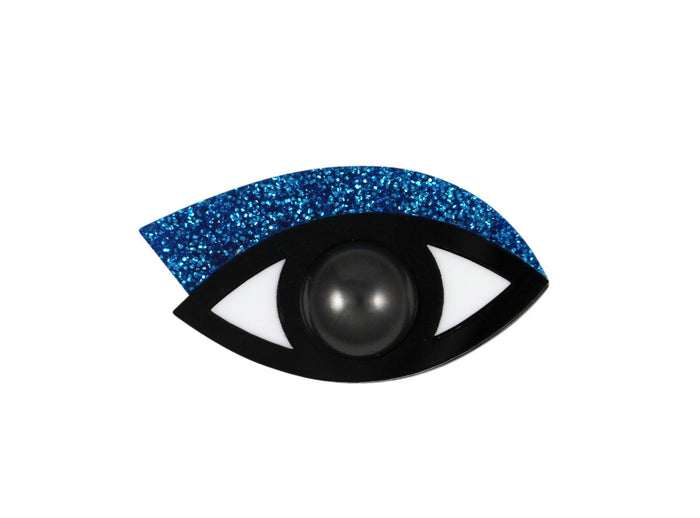 Eye brooch in blue glitter