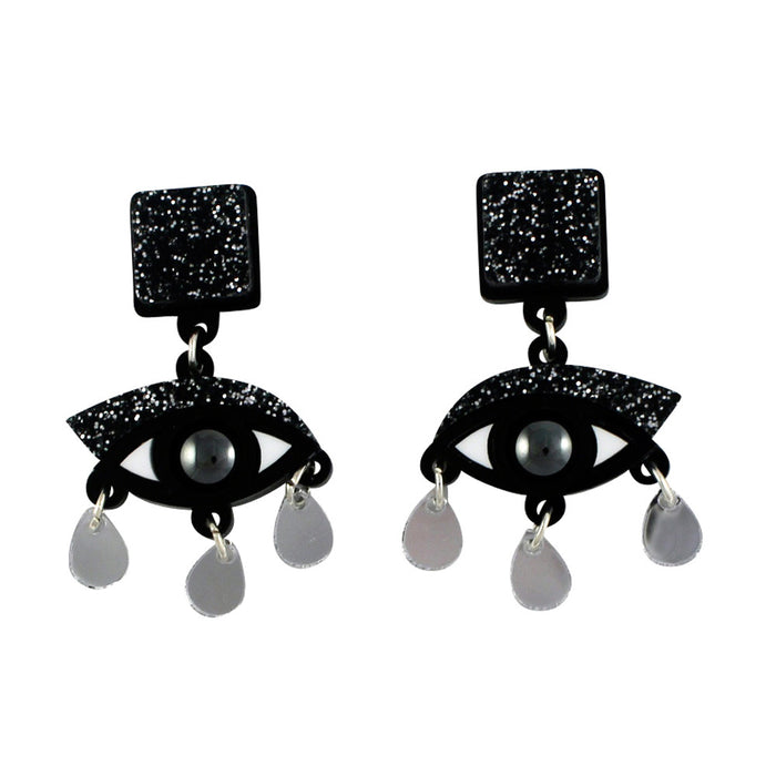 Eyes drop earrings in black glitter perspex