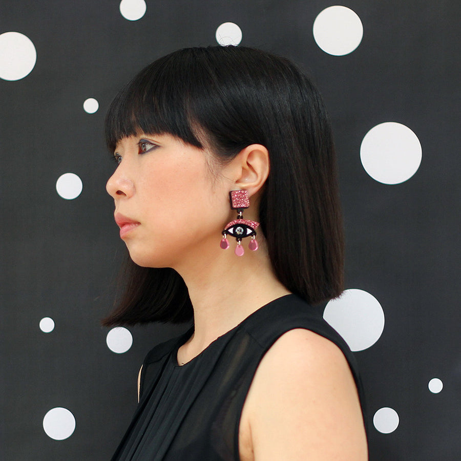 Jennifer Loiselle laser cut acrylic eye earrings