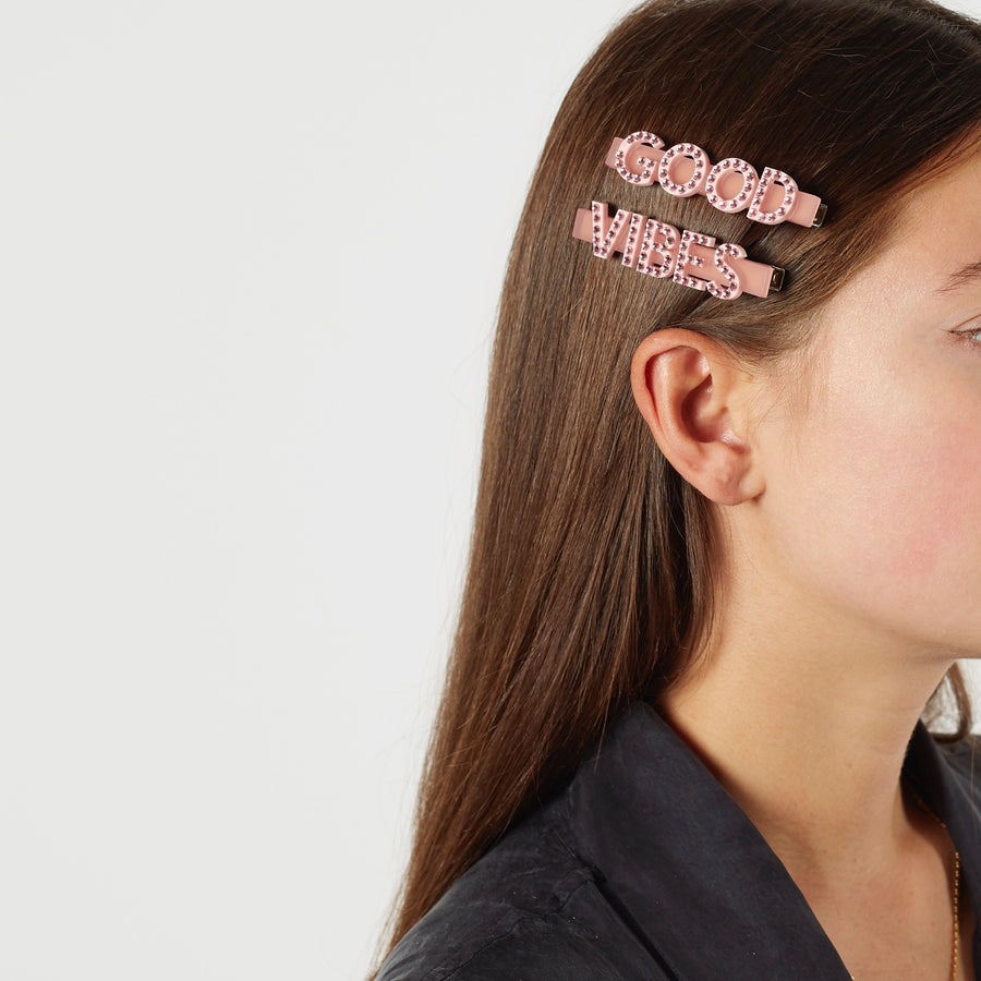 Good Vibes Swarovski Hair Clips in Pink