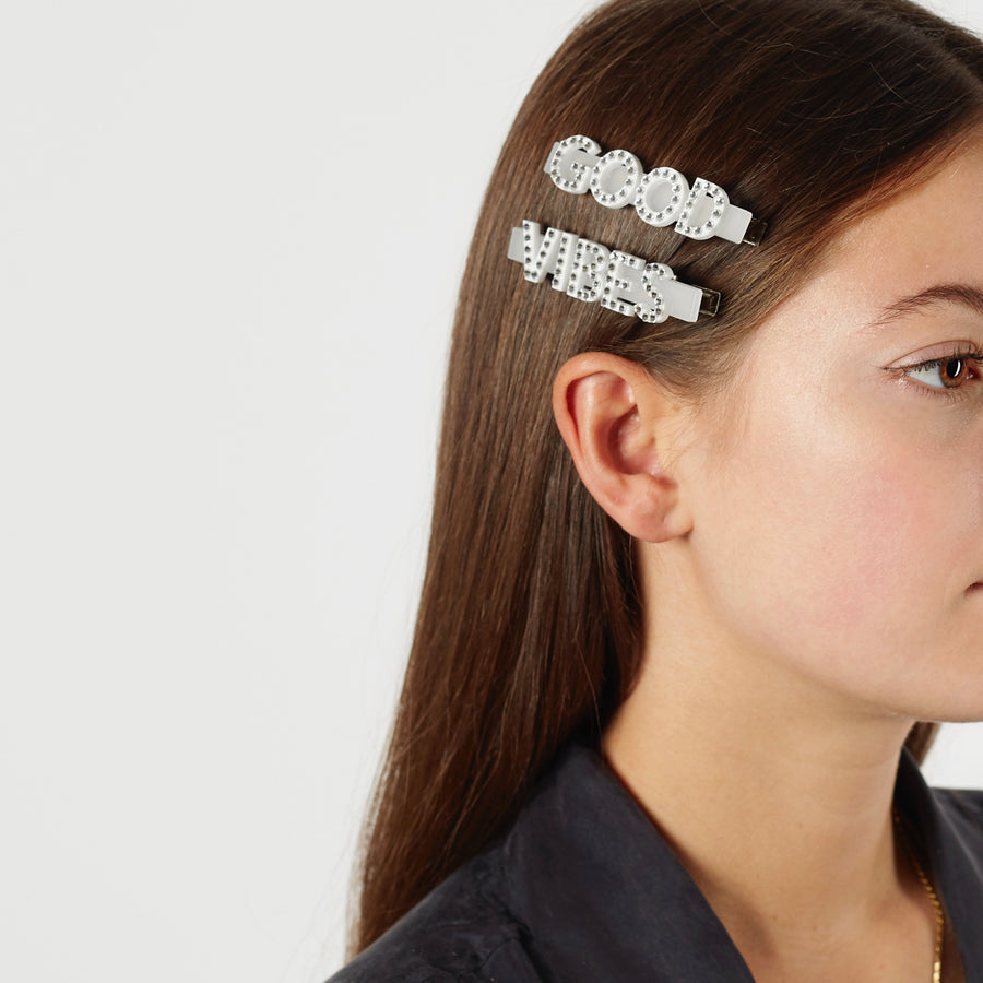 Good Vibes Swarovski Hair Clips in White