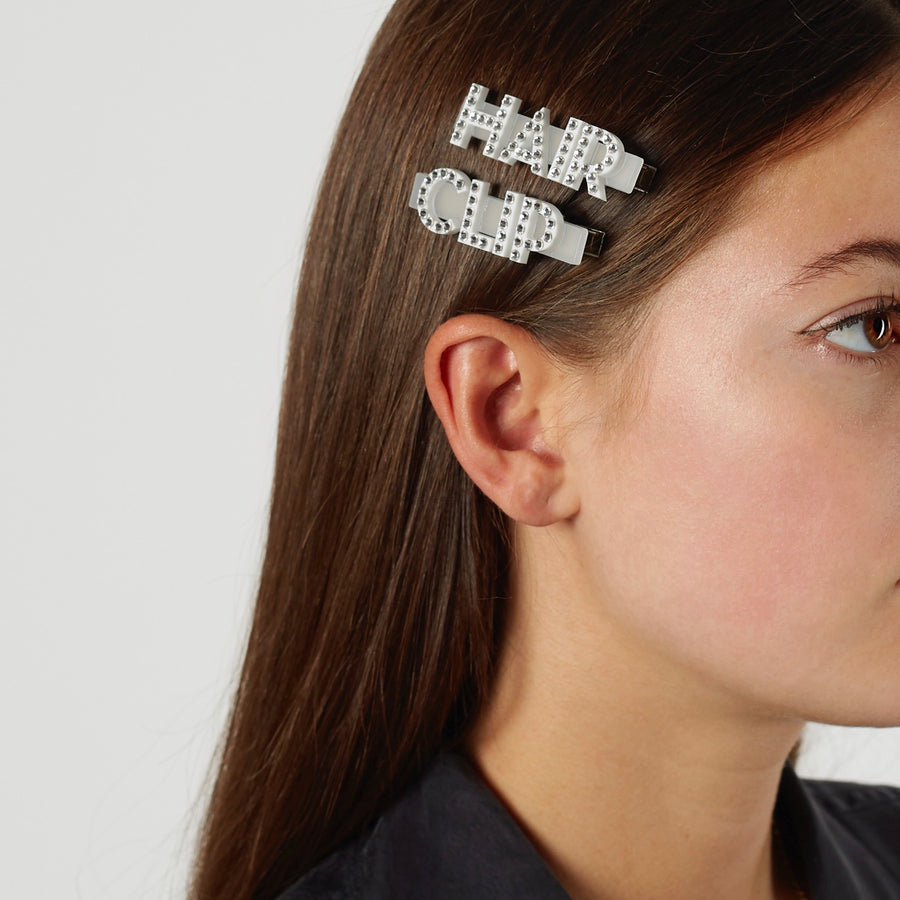 Happy Swarovski Hair Clips in White