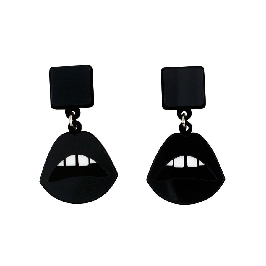 Jennifer Loiselle laser cut acrylic mirror Lips earrings