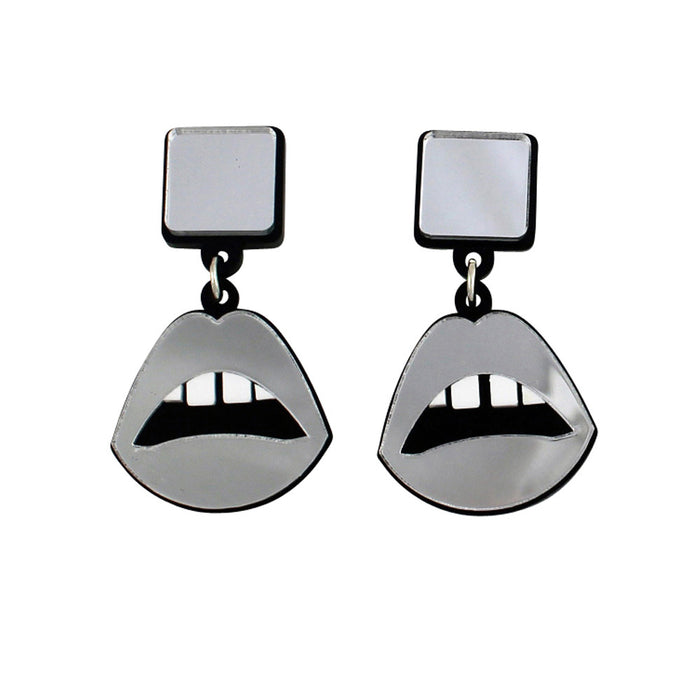 Lips drop earrings in silver mirror perspex