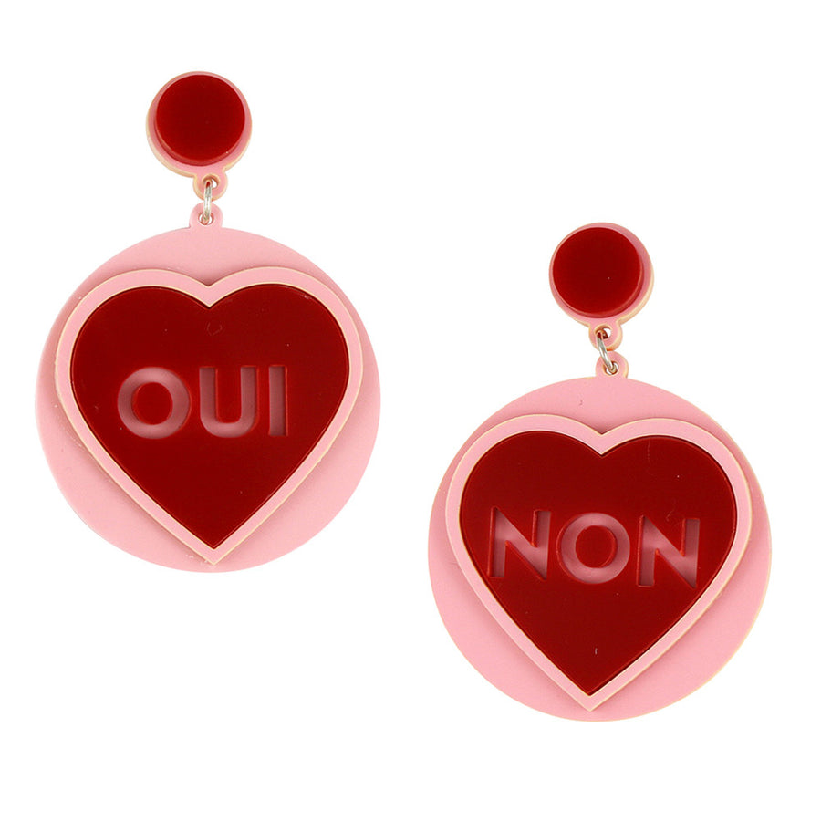 Jennifer Loiselle Oui Non  Laser Cut Acrylic Earrings
