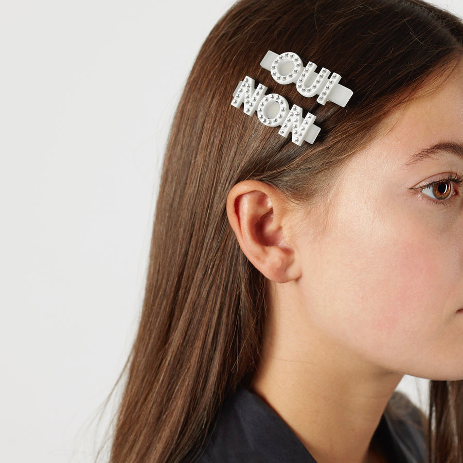 Jennifer Loiselle oui non word Swarovski crystal hair clips