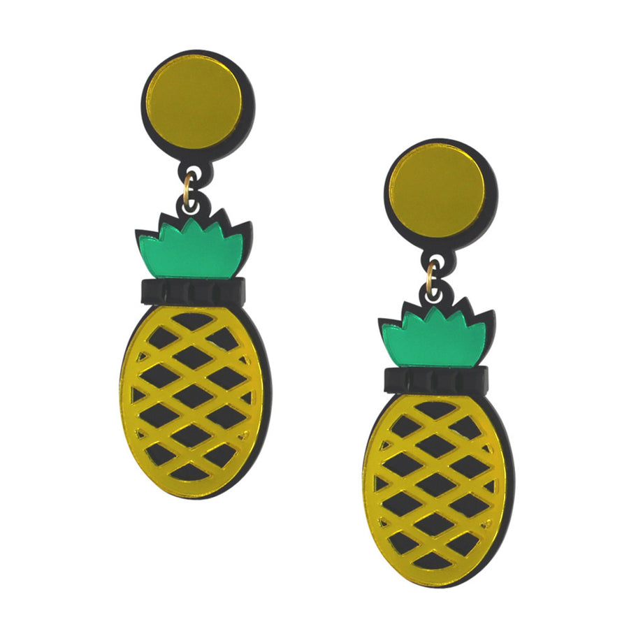Pineapples Forever Acrylic Earrings in yellow