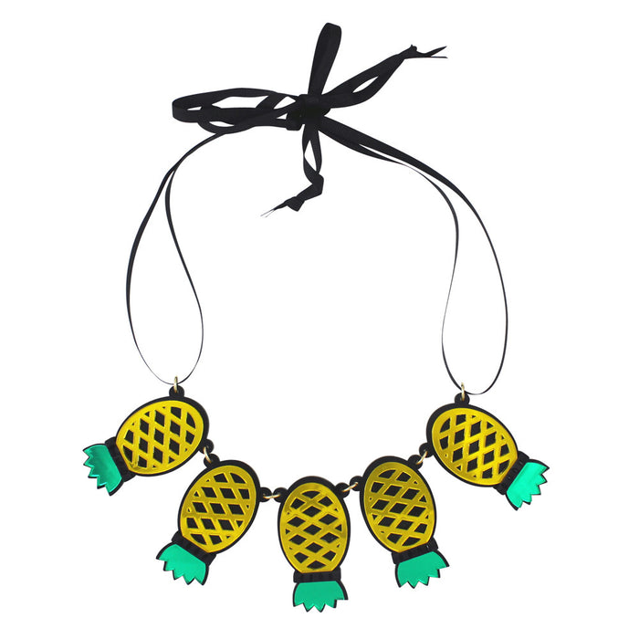 Pineapples Forever Acrylic Necklace in yellow