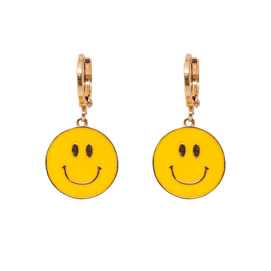 Don't Worry Be Happy Smiley Face Hoop Earrings