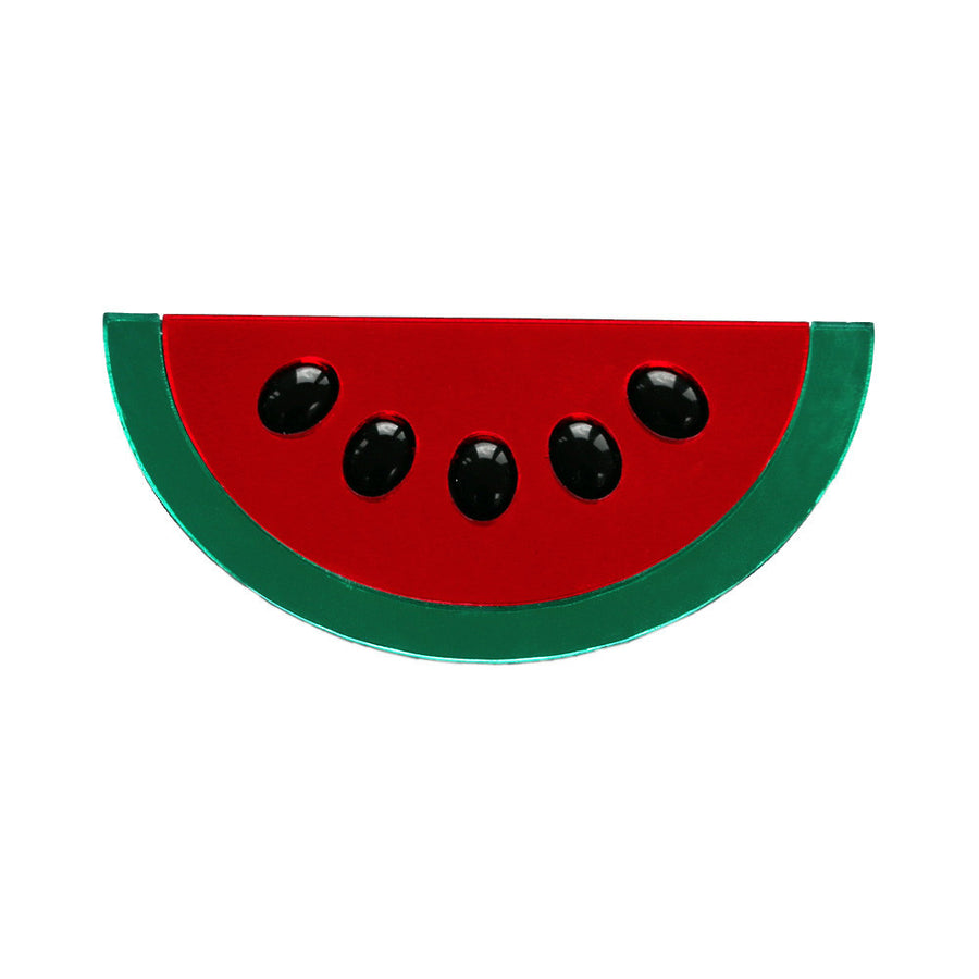Watermelon Wow Acrylic Brooch in Red
