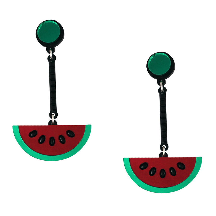 Watermelon Wow Acrylic Earrings in Red