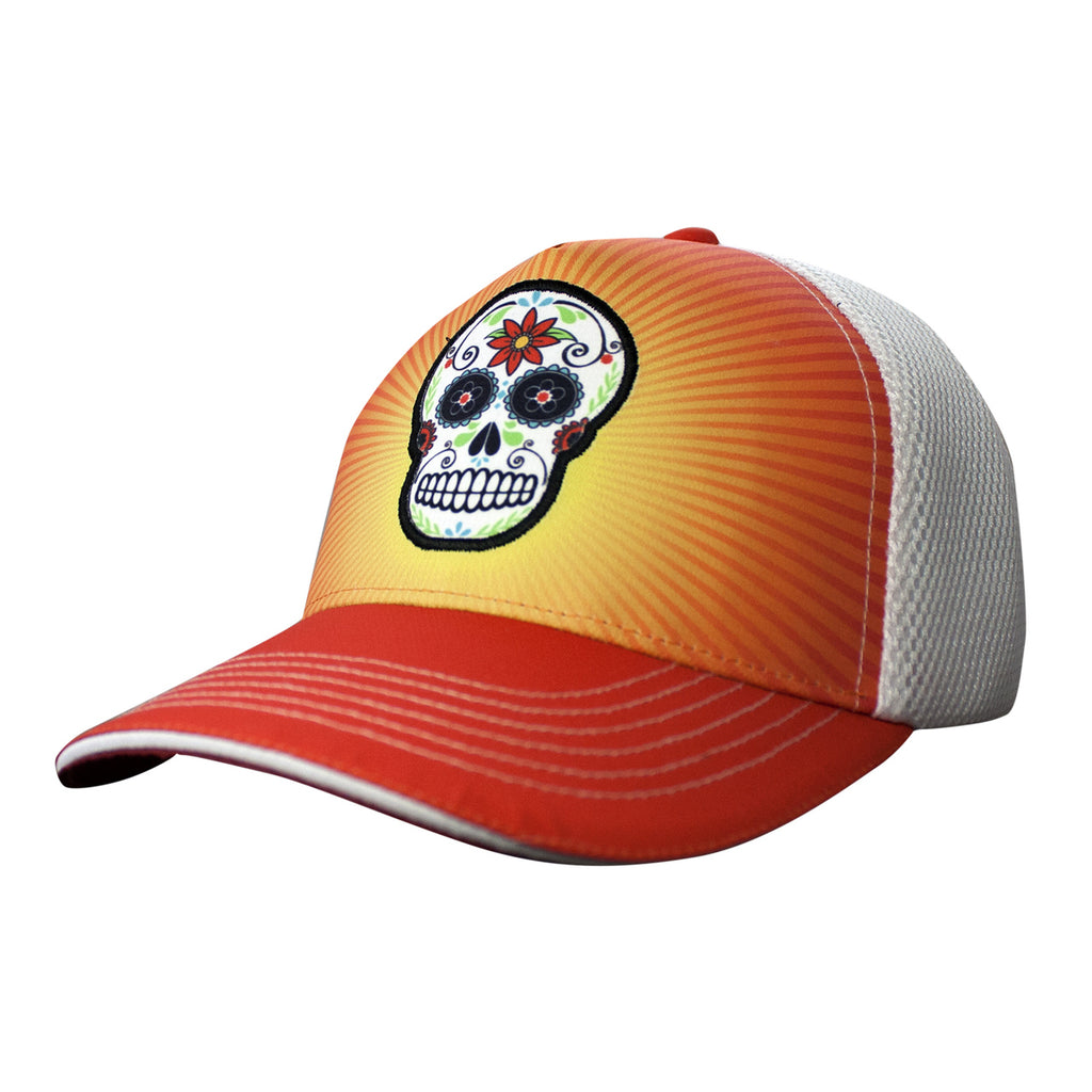 "7743 Gorra tipo Trucker ""Orange Sugar Skull"""