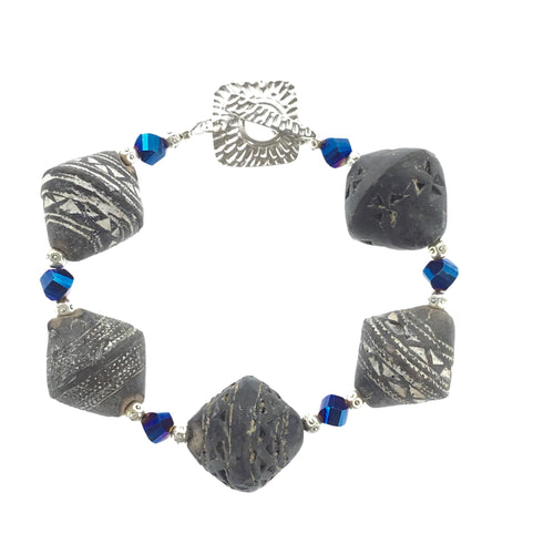 Bracelet - African Bead with Blue Crystal - Real Chic Boutique