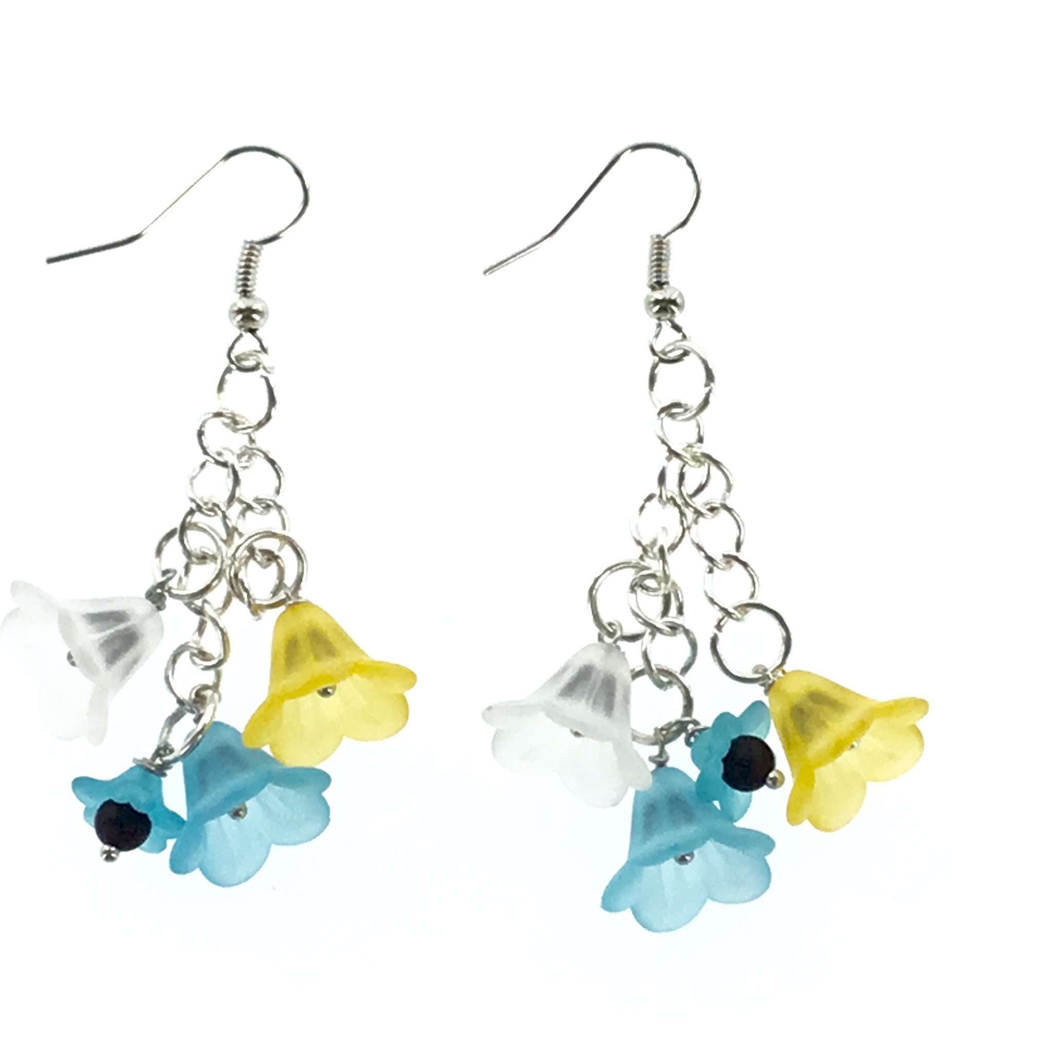 Lucite Blue Yellow and White Drop Earring - Real Chic Boutique  - 2