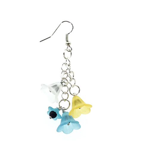 Lucite Blue Yellow and White Drop Earring - Real Chic Boutique  - 1