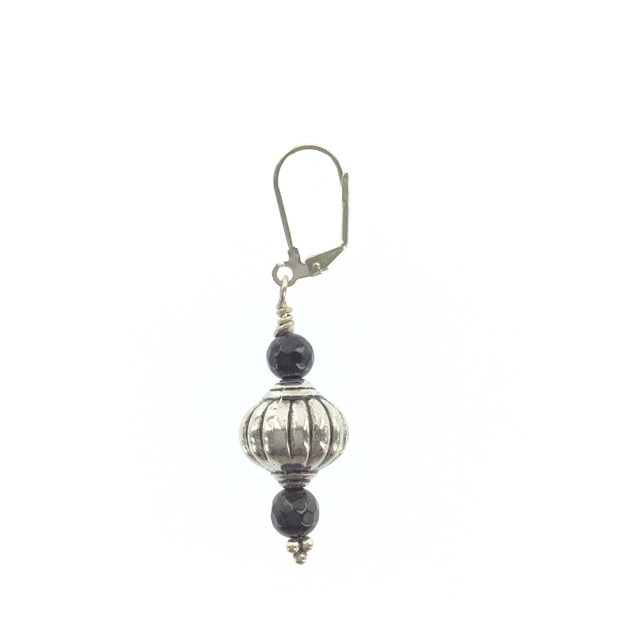 Antique Silver and Black Onyx Drop Earring - Real Chic Boutique  - 1