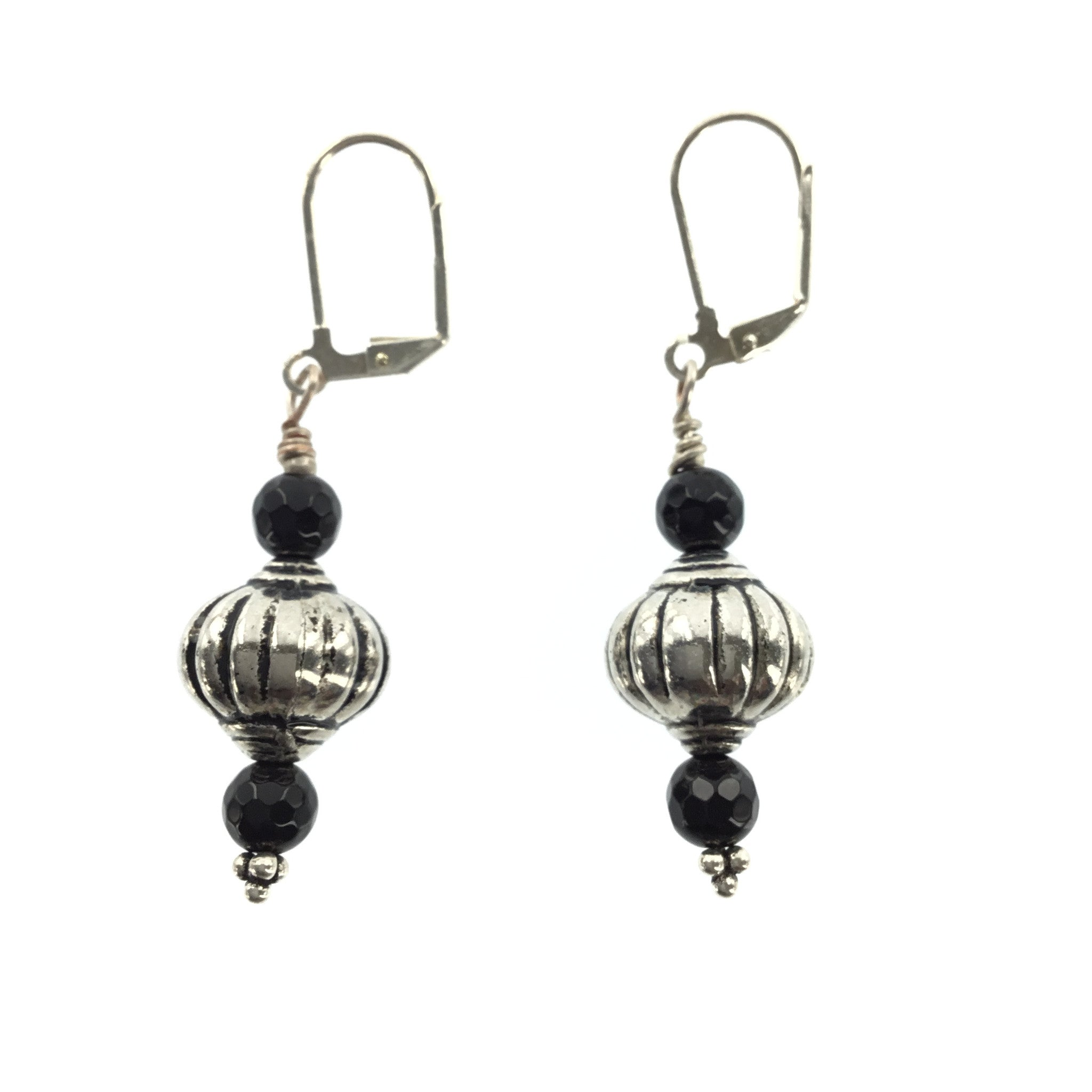 Antique Silver and Black Onyx Drop Earring - Real Chic Boutique  - 2