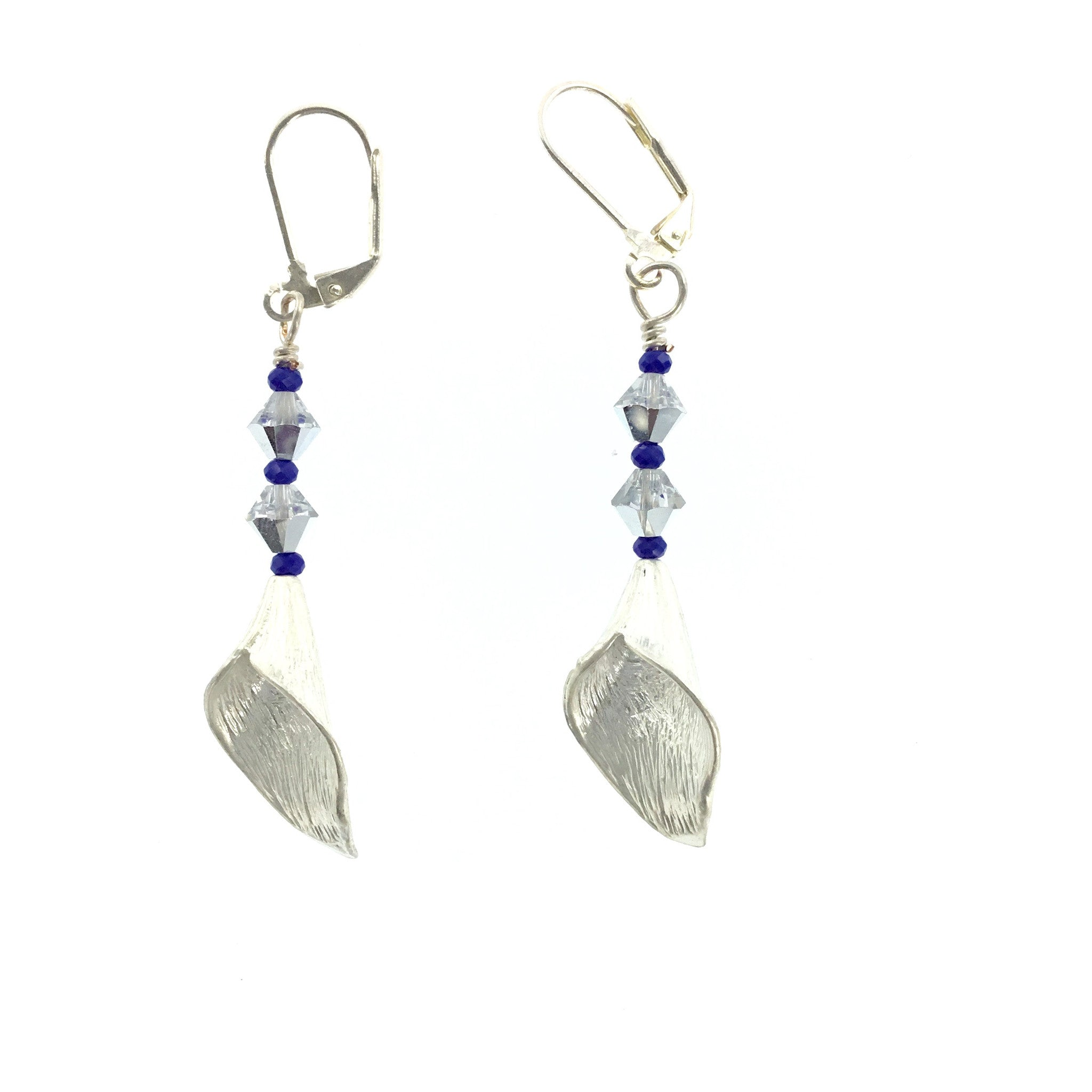 White Swarovski Crystal and Purple Drop Earrings - Real Chic Boutique  - 2