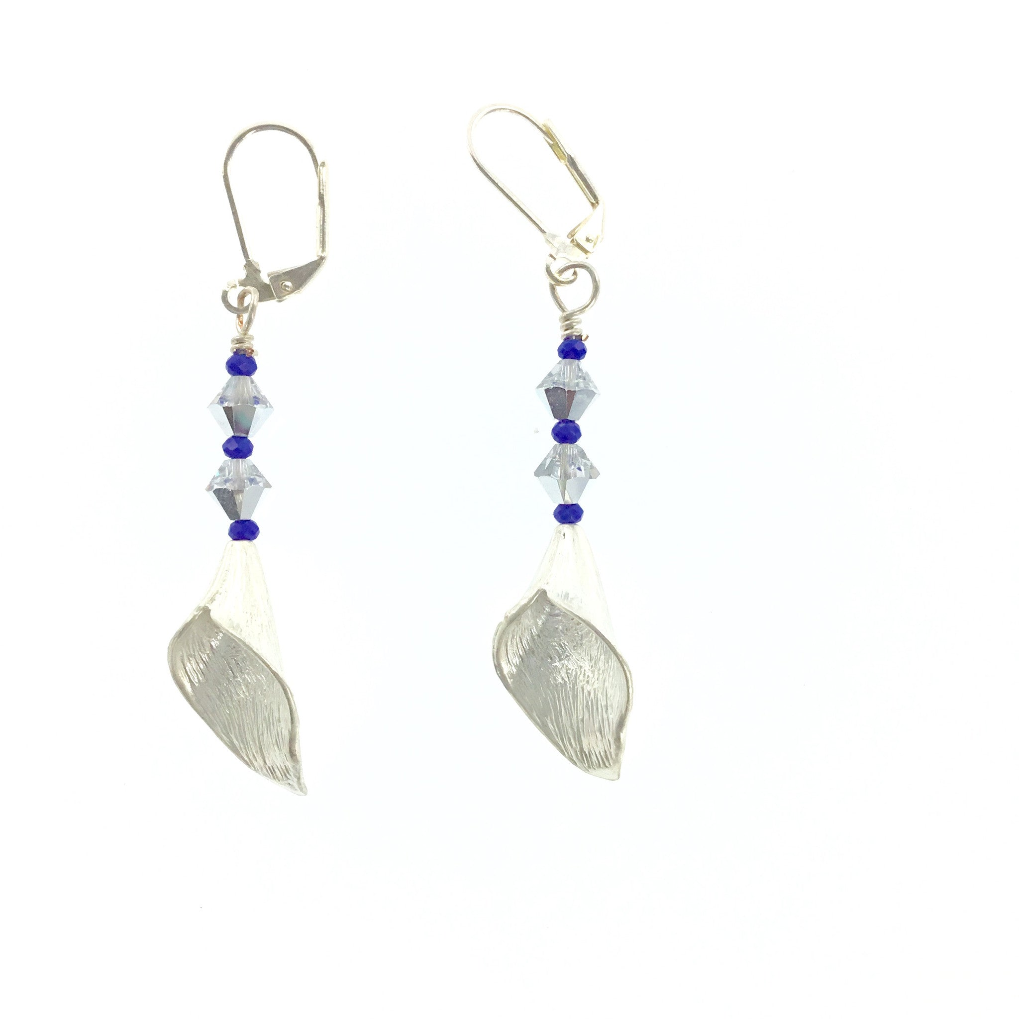 White Swarovski Crystal and Purple Drop Earrings - Real Chic Boutique  - 3
