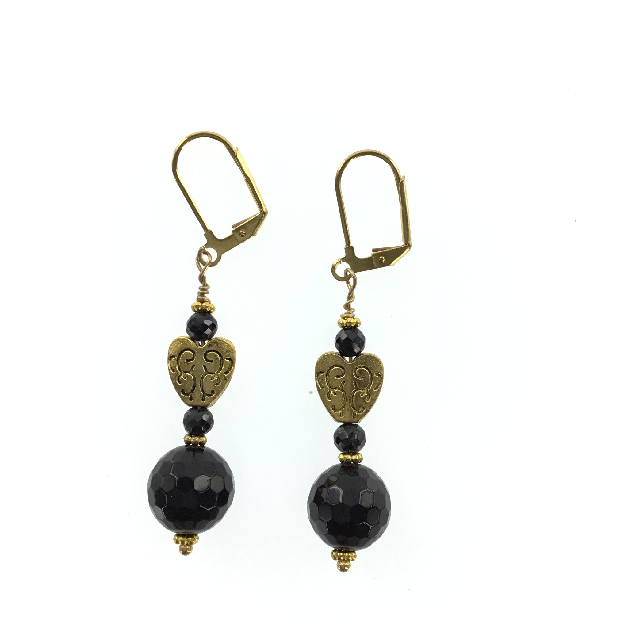 Black Swarovski Crystal and Onyx Gold Heart Earrings - Real Chic Boutique  - 2