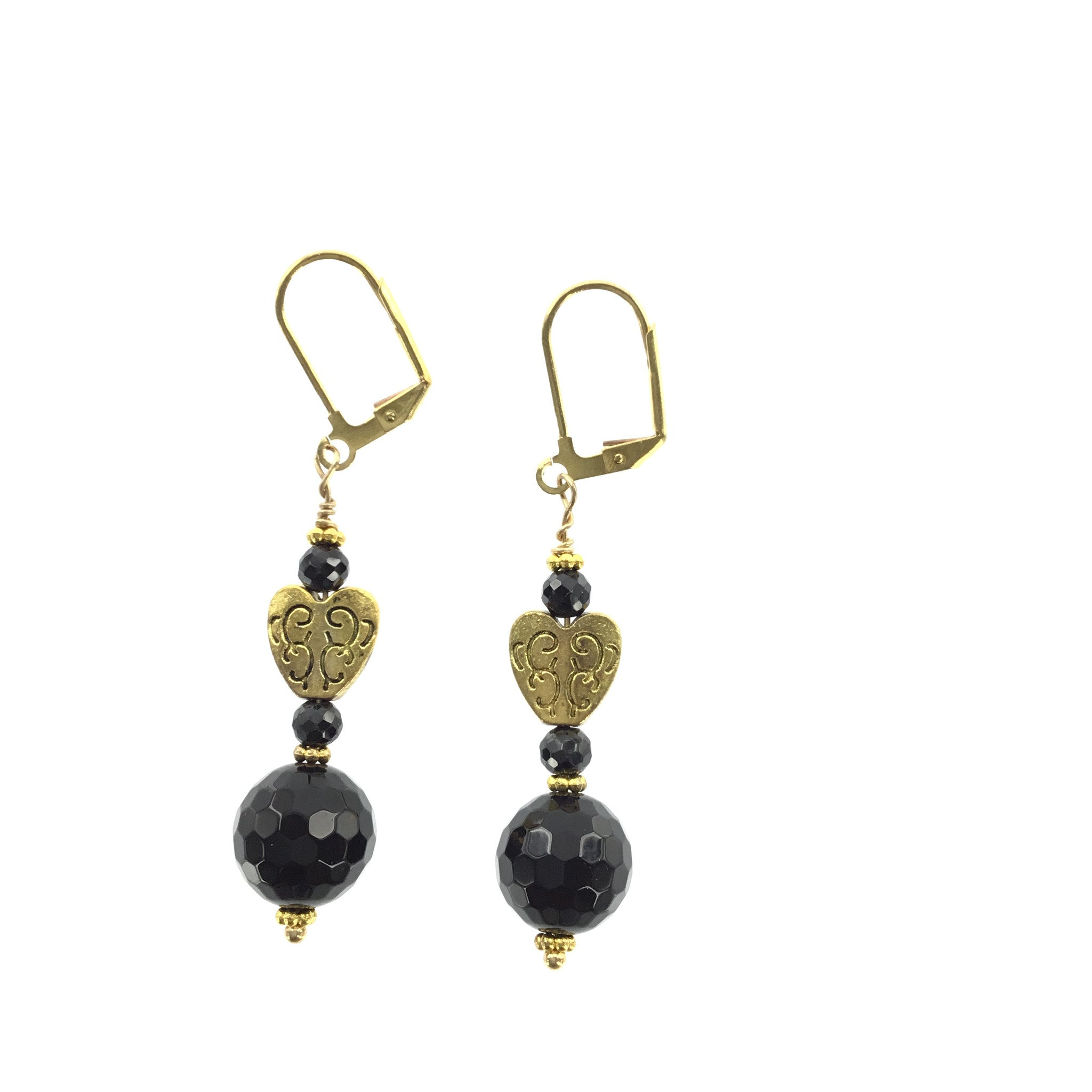 Black Swarovski Crystal and Onyx Gold Heart Earrings - Real Chic Boutique  - 3