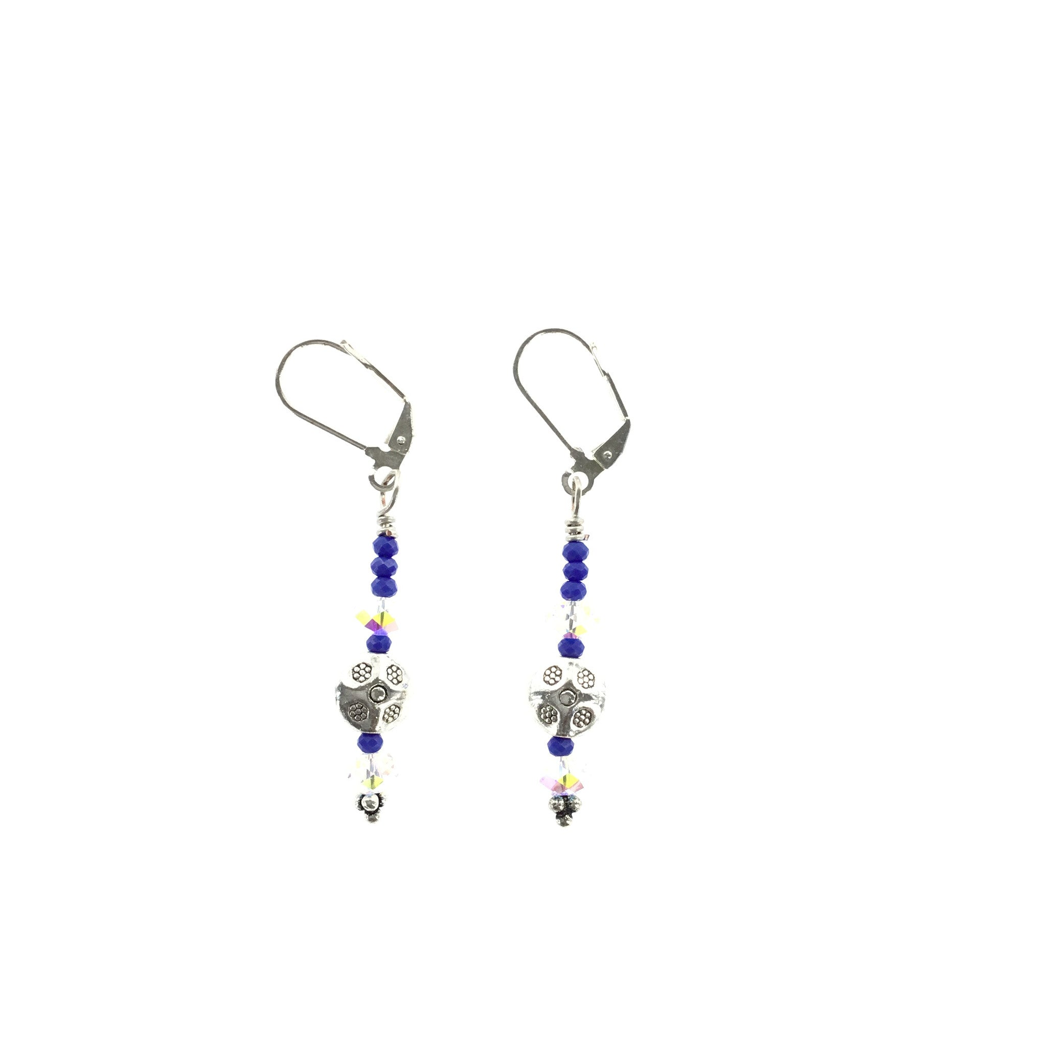 Violet and White Swarovski Drop Earring - Real Chic Boutique  - 2