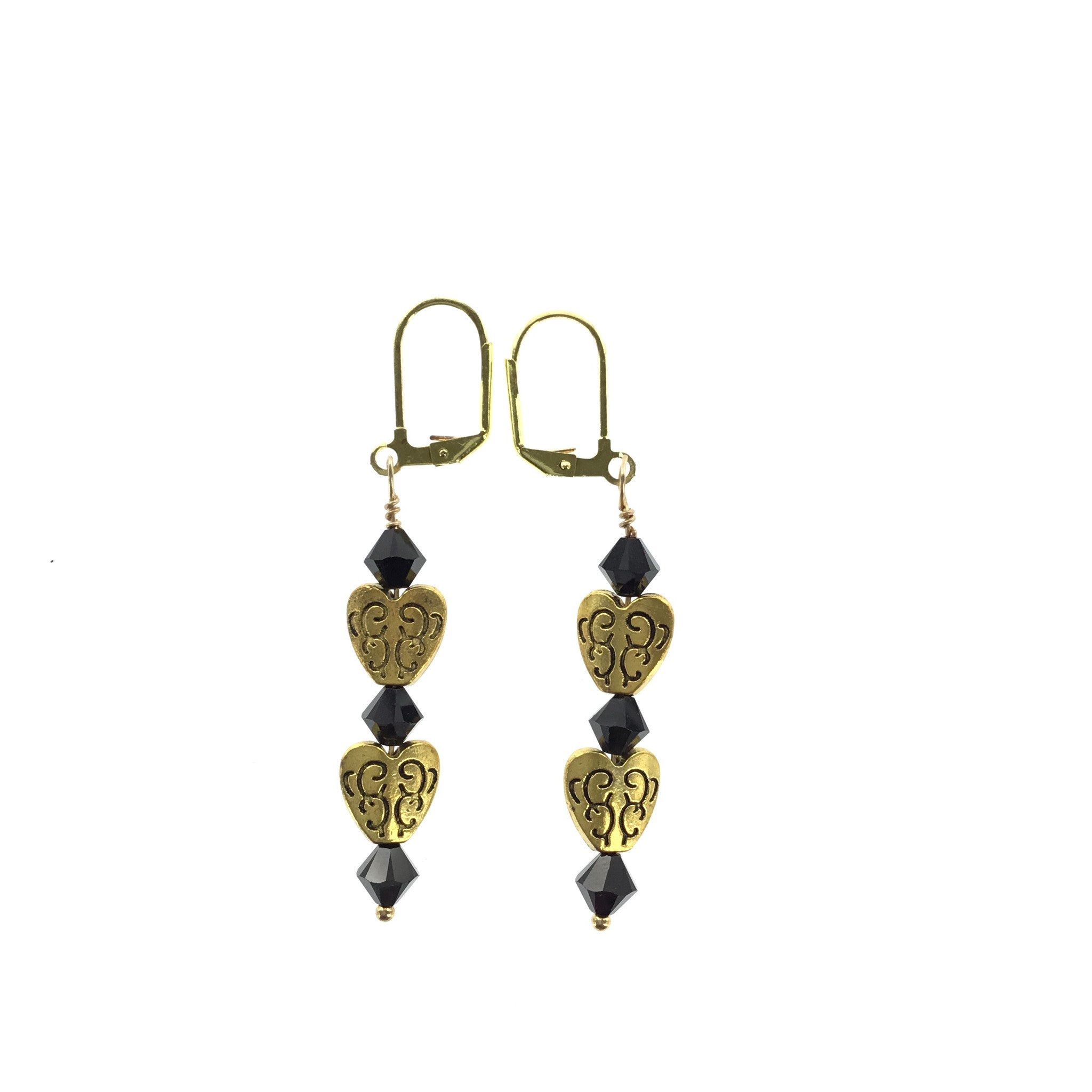 Black Swarovski Crystal Gold Heart Earrings - Real Chic Boutique  - 2
