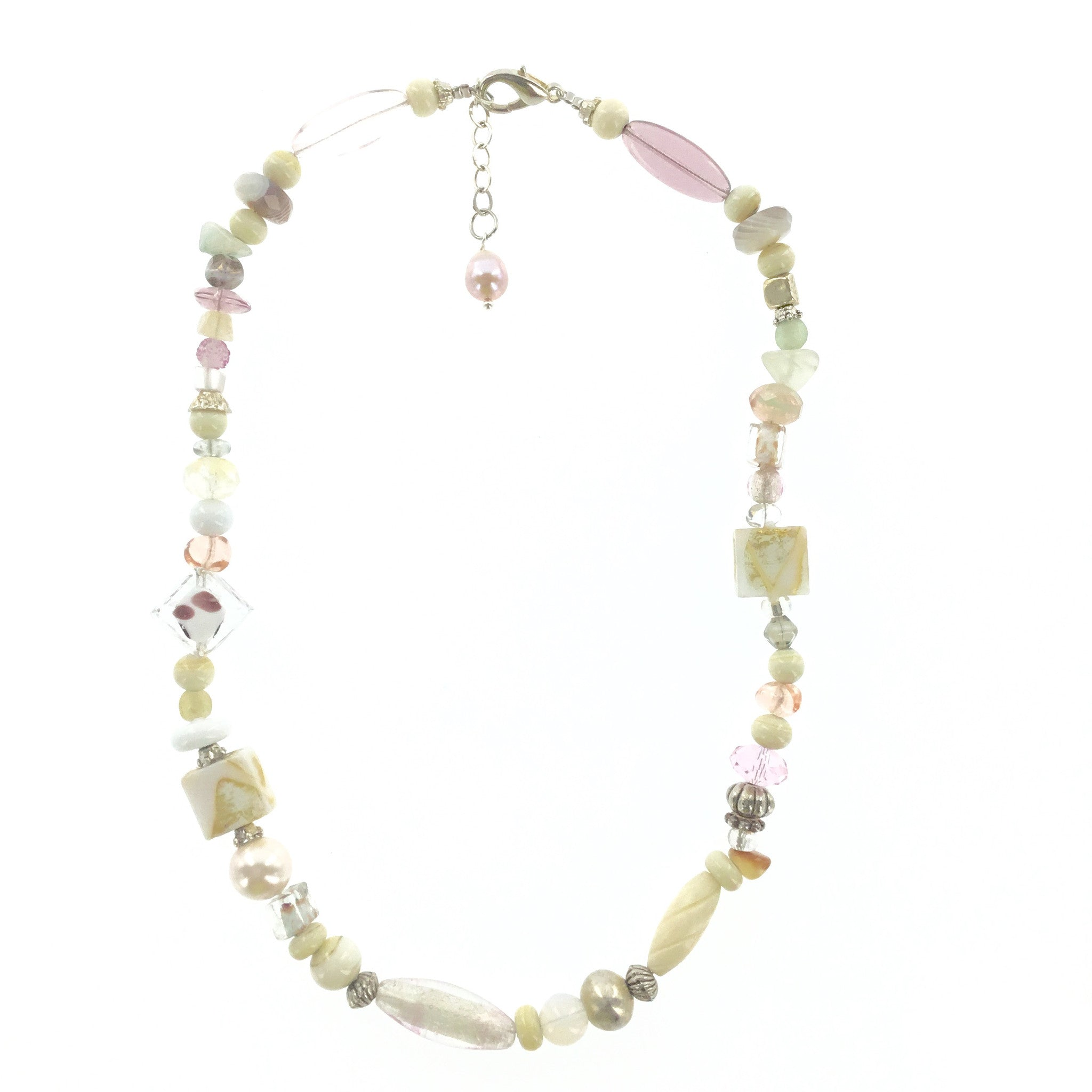 Ivory and Pink Murano Glass Necklace - Real Chic Boutique  - 2