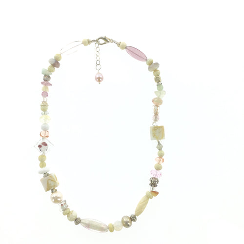 Ivory and Pink Murano Glass Necklace - Real Chic Boutique  - 1
