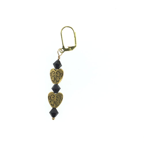 Black Swarovski Crystal Gold Heart Earrings - Real Chic Boutique  - 1