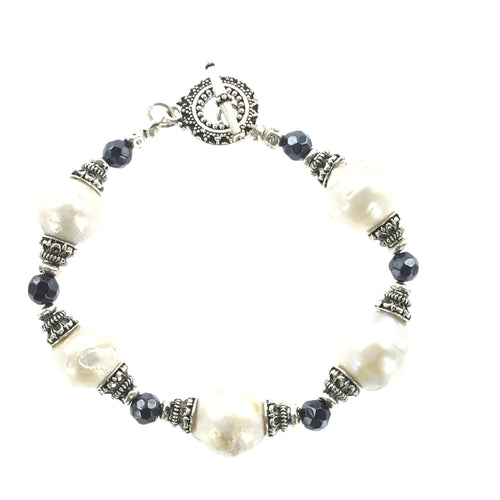 Fresh Water Pearl and Sapphire Bracelet - Real Chic Boutique  - 1