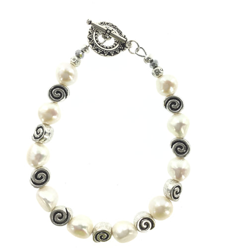 Fresh Water Pearl Bracelet with Antique Silver Toggle Clasp - Real Chic Boutique