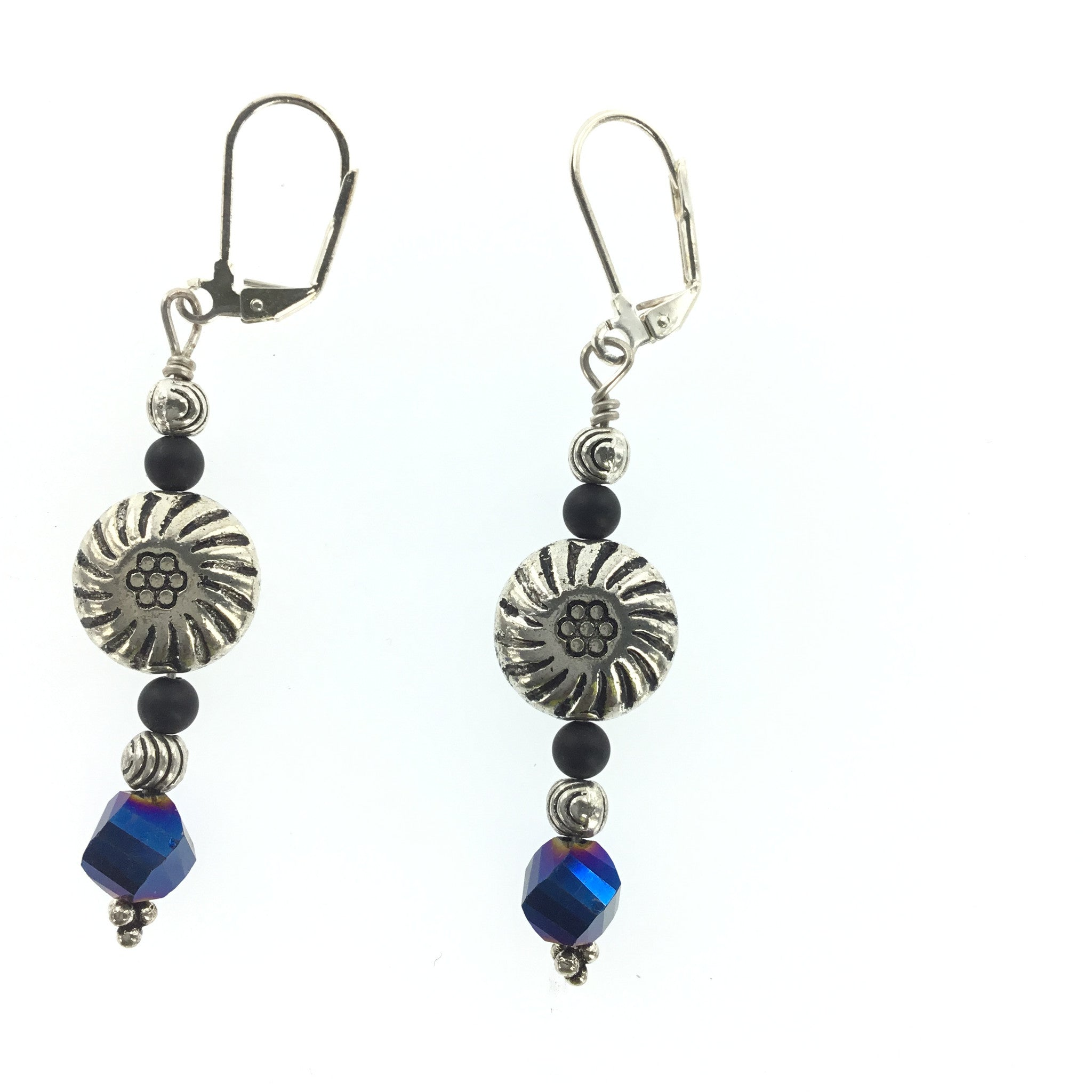 Blue Crystal and Black Spinel Drop Earring - Real Chic Boutique  - 2