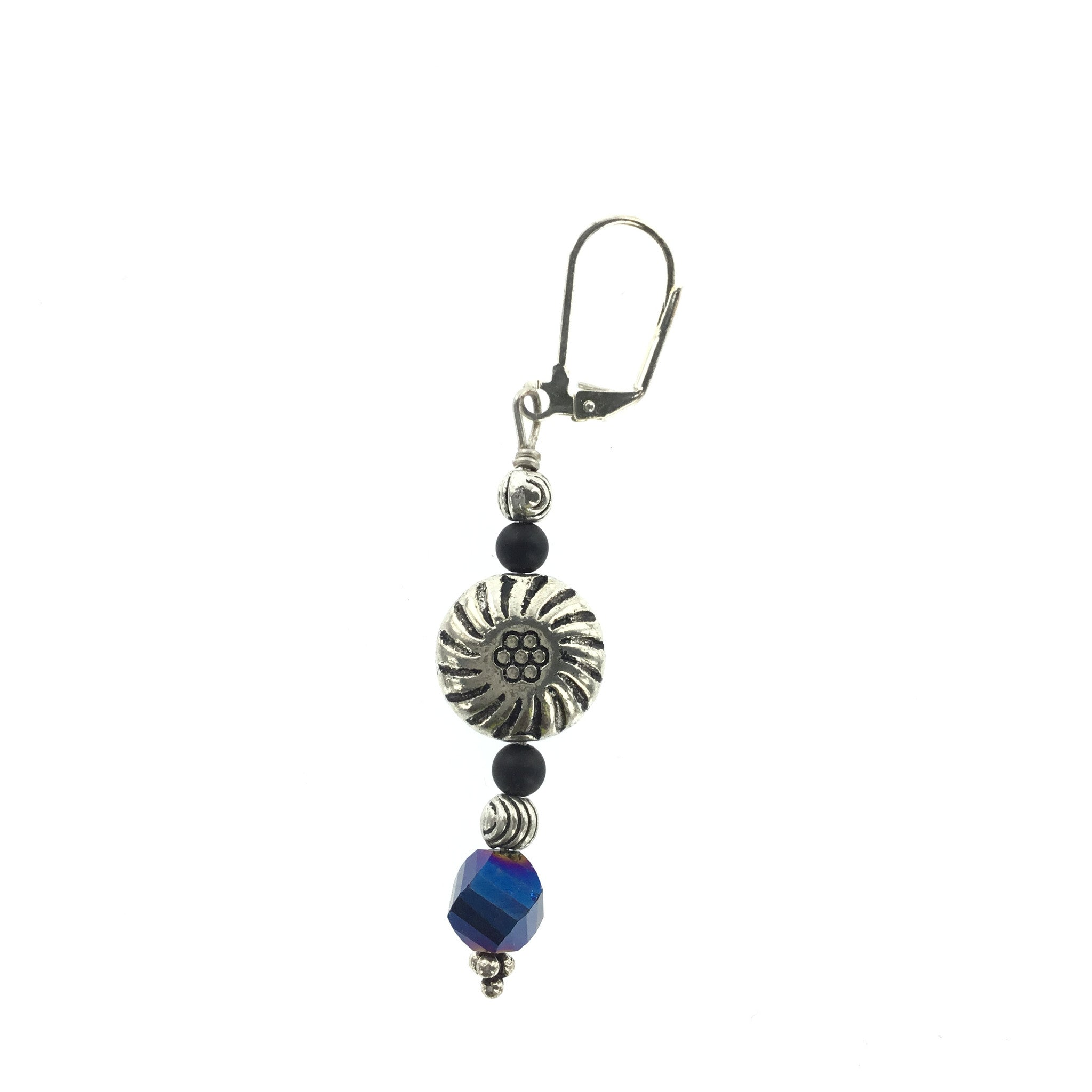 Blue Crystal and Black Spinel Drop Earring - Real Chic Boutique  - 1