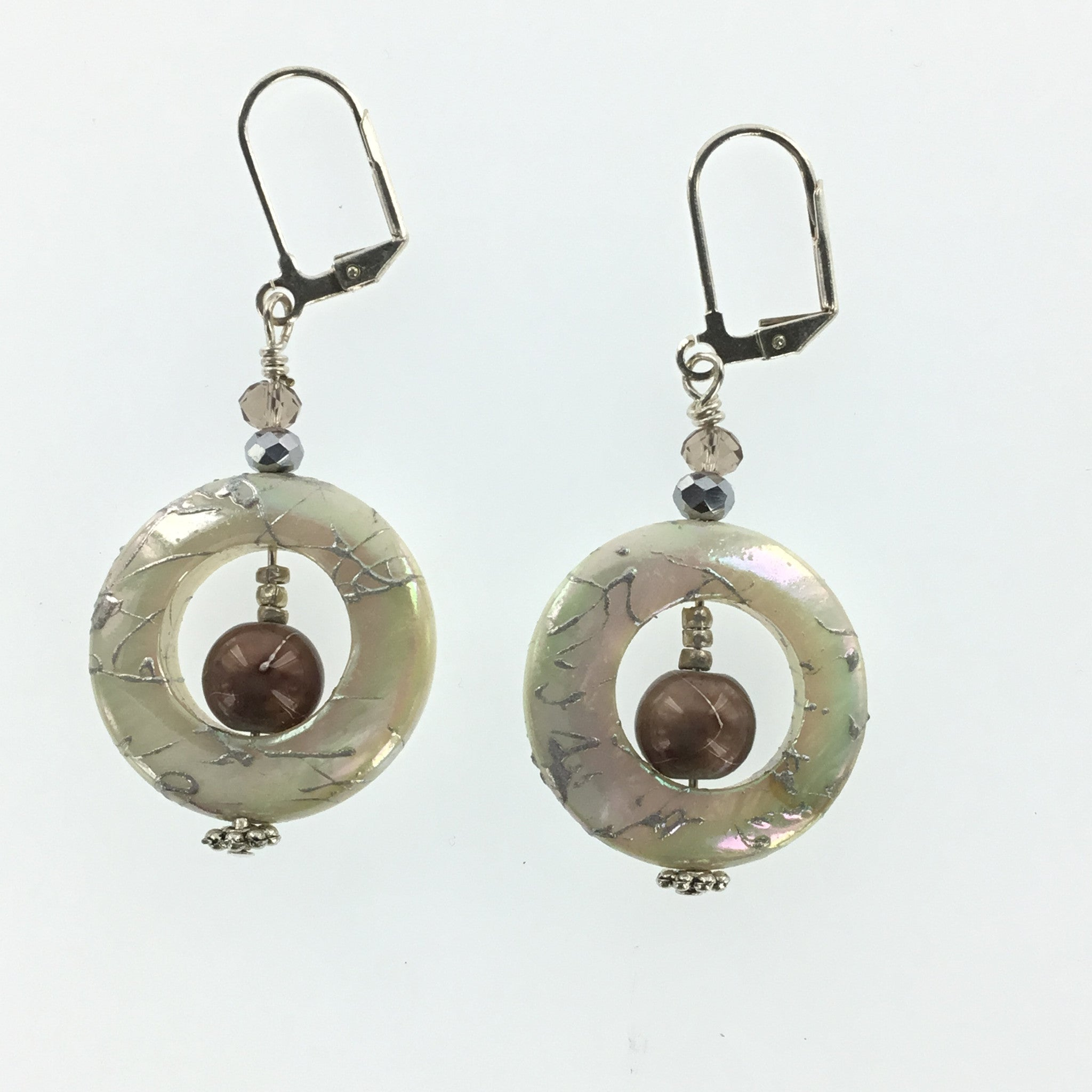 Bronze Glass Pearl and Smokey Topaz Crystal Drop Earring - Real Chic Boutique  - 2