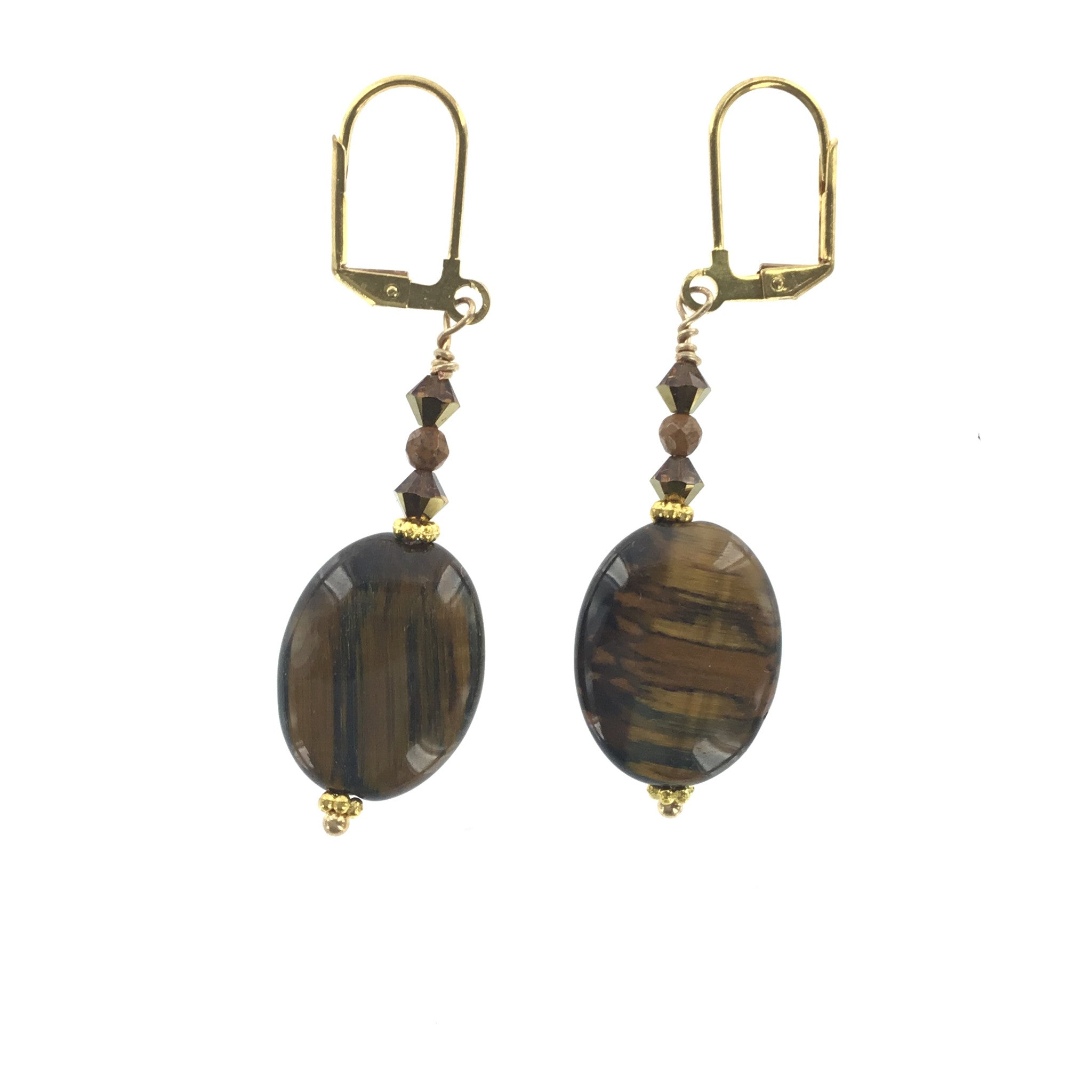 Tiger-eye Topaz Crystal and Jasper Drop Earring - Real Chic Boutique  - 2