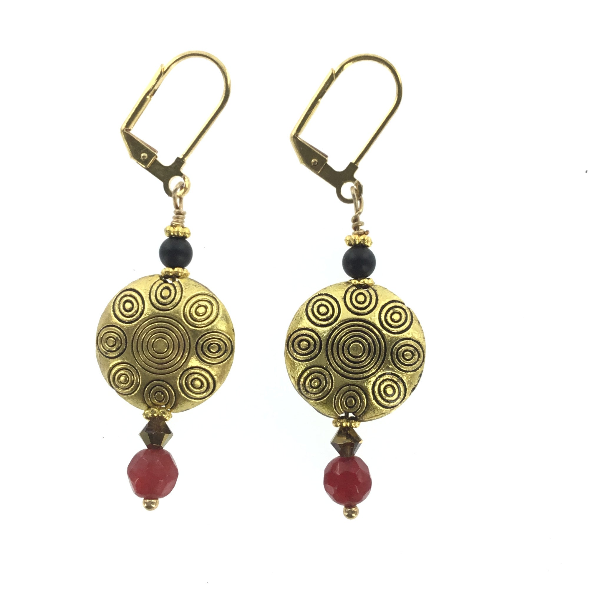 Red Black and Topaz Drop Earring - Real Chic Boutique  - 2