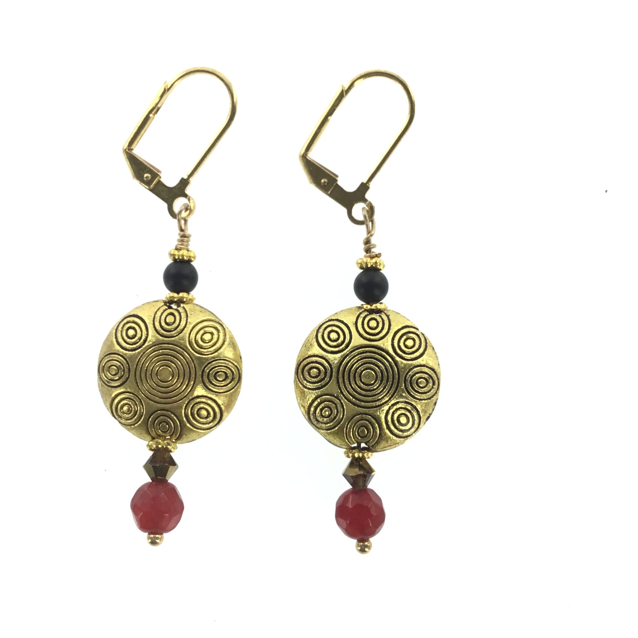Red Black and Topaz Drop Earring - Real Chic Boutique  - 3
