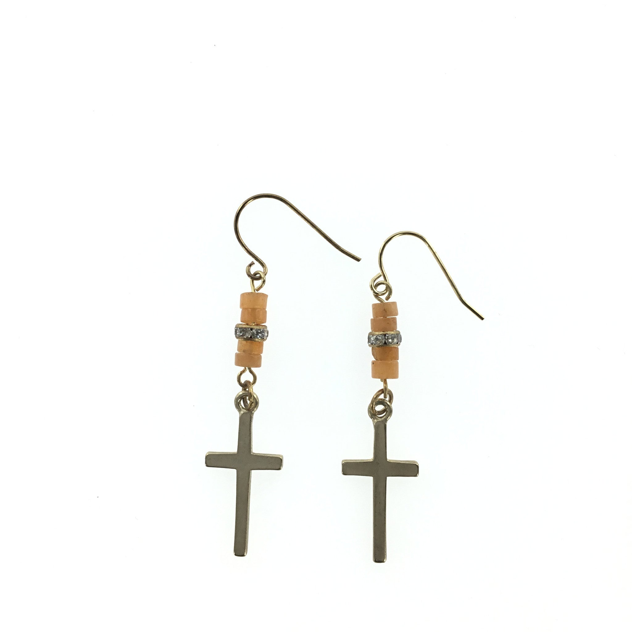 Gold Cross and Citron Drop Earring - Real Chic Boutique  - 2