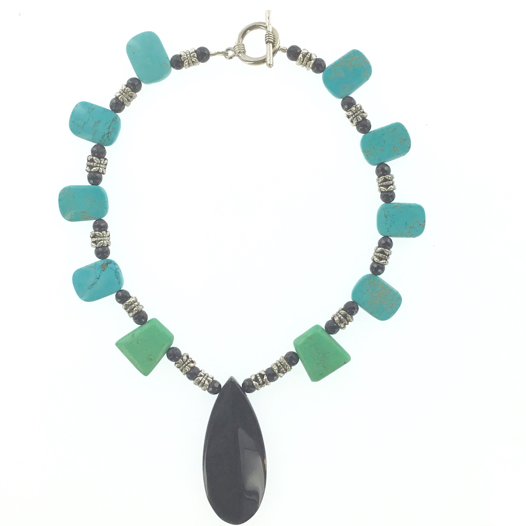 Turquoise and Black Agate Necklace - Real Chic Boutique  - 1