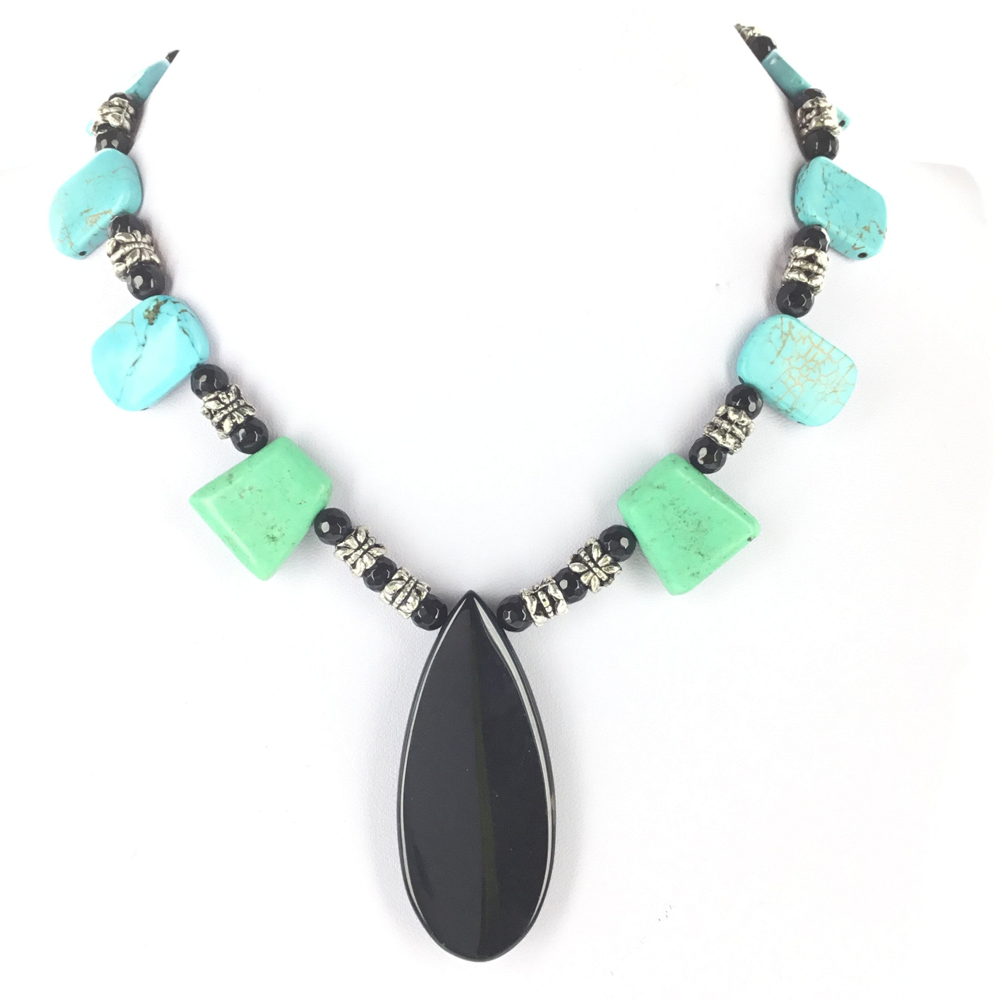 Turquoise and Black Agate Necklace - Real Chic Boutique  - 2
