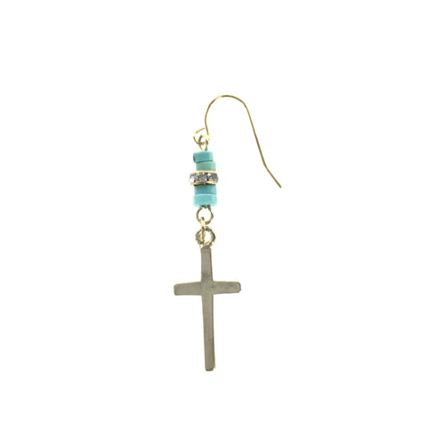 Gold Cross and Turquoise Drop Earring - Real Chic Boutique  - 1